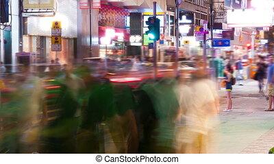 hong, timelapse, kong, ulica, handel, noc