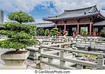 hong, toerist, nonnenklooster, chi, lin, kong, fontijn, kowloon