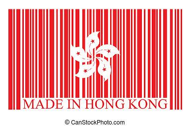 hong, vecteur, drapeau, barcode, kong