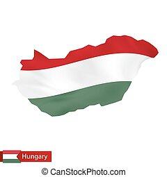 hongarije, kaart, met, het watergolven dundoek, van, hungary.