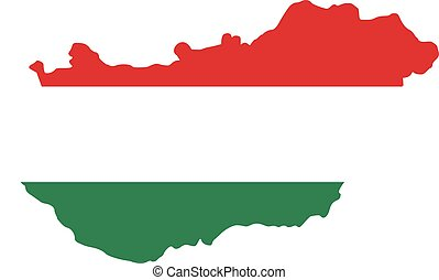 hongarije, kaart, met, vlag