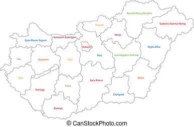 hongarije, schets, kaart