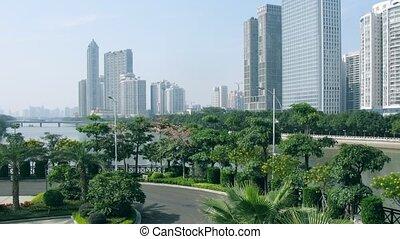 hongcheng, drapacze chmur, widoczny, park, miasto, nowy, zhujiang
