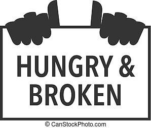 hongerige , hand, pictogram, white., meldingsbord, black , vector, broken., illustration., vasthouden