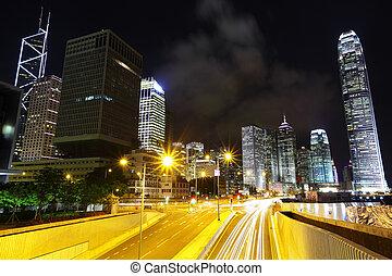 hongkong, środkowy okręg, w nocy