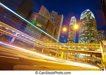hongkong, の, 現代, ランドマーク, 建物, 背景, 道, ライト, tra