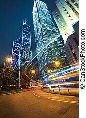 hongkong, 在中, 现代, 里程碑, 建筑物, 背景, 道路, 光, tra