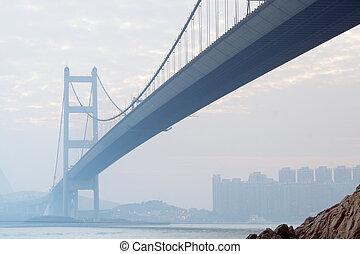 hongkong, 日没, 橋, ma, tsing