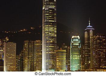 hongkong, 超高層ビル, 夜