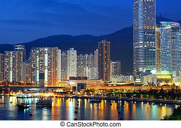 hongkong, 青, downtown., 時間, たそがれ
