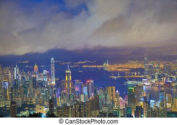 hongkong, ansicht, von, der, jardine's, warte