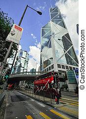 hongkong, bank, skysraper, mit, blauer himmel