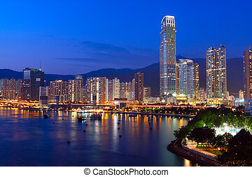 hongkong, bleu, downtown., heure, crépuscule