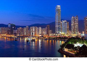hongkong, blu, downtown., ora, crepuscolo