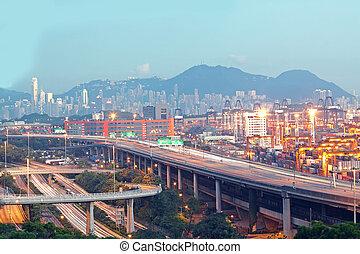 hongkong, brücke, von, transport, pier.