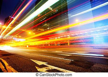 hongkong - Car light trails and urban landscape in Hong Kong