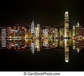 hongkong, contornos, noche
