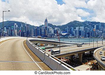 HongKong Day - Highway and skylines in modern HongKong city