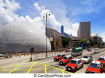 HongKong Day - HongKong traffic day, red taxi and landmark...