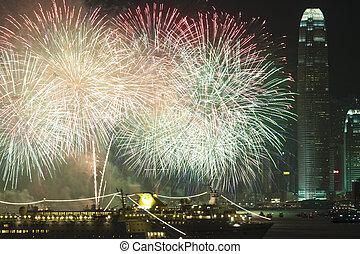 hongkong, feuerwerk, in, chinesisches neues jahr