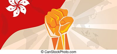 Hongkong flag hand fist. Activism revolution democracy rally. Political action. Vector illustration. vector