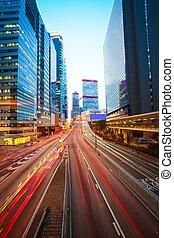 hongkong, gebäude, spuren, modern, hintergruende, licht, straße
