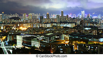 hongkong, med, fullsatt, bebyggelse, om natten