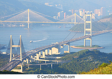 hongkong, mosty, na, dzień czas