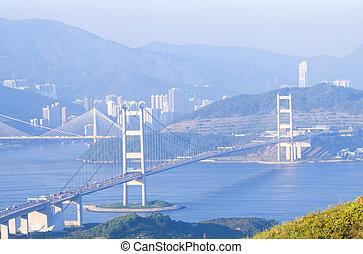 hongkong, mosty, na, dzień
