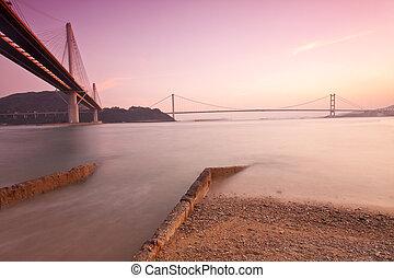hongkong, mosty, na, zachód słońca