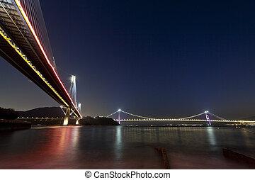 hongkong, mosty, połączenie, w nocy