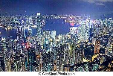 hongkong night and modern buildings