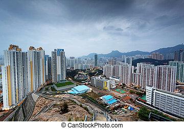 hongkong, ocaso, ciudad