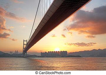 hongkong, ocaso, puente, ma, tsing