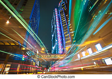 HongKong of modern landmark buildings backgrounds road light tra