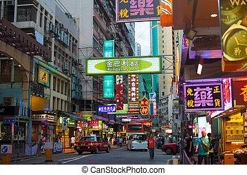hongkong, porzellan, -, juli, 1st:, straße, ansicht, nacht, auf, juli, 1., 2
