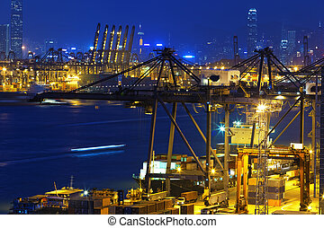 hongkong, récipient bateau, port