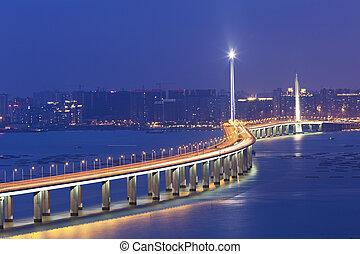 hongkong, shenzhen, västra, korridor, bro, om natten