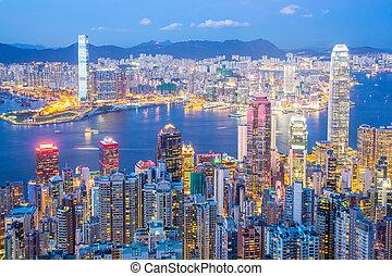 hongkong, skyline, an, dämmerung