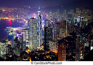 hongkong, skyline, nacht