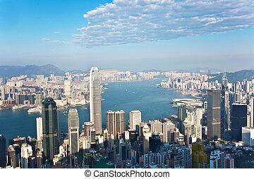 hongkong, stad syn, från, viktoria topp