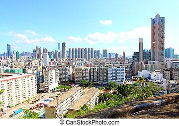 hongkong, stadtzentrum, an, tageszeit
