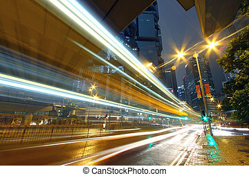 hongkong, stadtzentrum, verkehr, nacht, durch