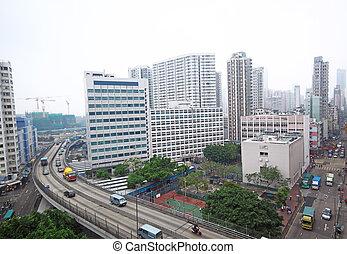 hongkong, tráfico, céntrico
