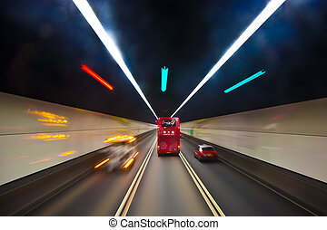 hongkong, tunnel, anglaise, rouges, autobus, beau