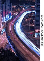 hongkong, verkehr, landstraße, nacht