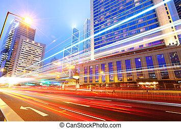 hongkong, verkehr, nacht