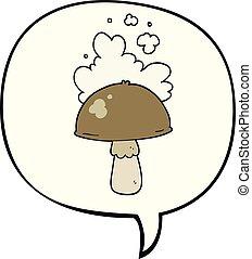 hongo, espora, burbuja del discurso, caricatura, nube
