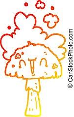 hongo, gradiente, spoor, dibujo, tibio, línea, caricatura, ...