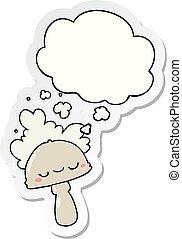 hongo, pegatina, spoor, pensamiento, impreso, burbuja, ...